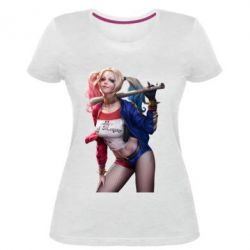 Женская стрейчевая футболка Опасная Харли Квинн - FatLine