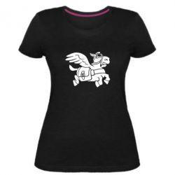 Женская стрейчевая футболка Осел-курьер (Dota 2)