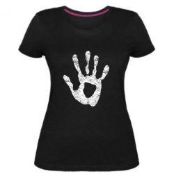 Женская стрейчевая футболка Отпечаток руки