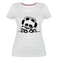 Женская стрейчевая футболка Панда в наушниках