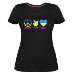 Женская стрейчевая футболка Peace, Rock, Love - FatLine