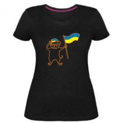 Женская стрейчевая футболка Пес з прапором - FatLine