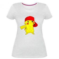 Женская стрейчевая футболка Pikachu in a cap
