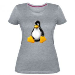 Жіноча стрейчева футболка Пингвин Linux
