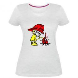 Женская стрейчевая футболка Писающий хулиган-пожарный