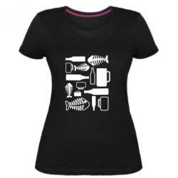 Женская стрейчевая футболка Пиво и рыбка
