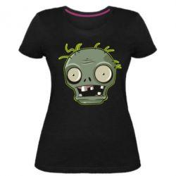 Жіноча стрейчева футболка Plants vs zombie head