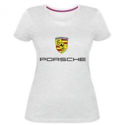 Женская стрейчевая футболка Porsche - FatLine