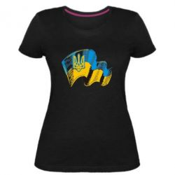 Жіноча стрейчева футболка Прапор України з гербом