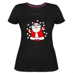 Жіноча стрейчева футболка Прикольний дід мороз