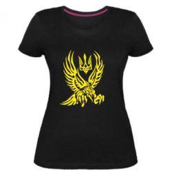 Жіноча стрейчева футболка Птах та герб