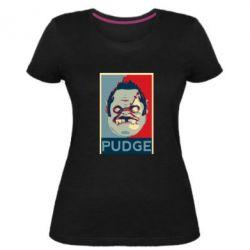 Женская стрейчевая футболка Pudge aka Obey