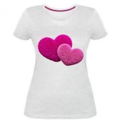 Купить Женская стрейчевая футболка Пушистое сердце, FatLine