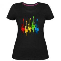 Женская стрейчевая футболка Разноцветные гитары