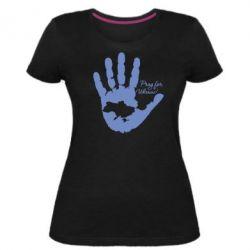 Жіноча стрейчева футболка Рука з картою України