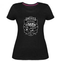 Жіноча стрейчева футболка Runs On Diesel