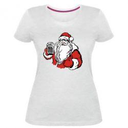 Женская стрейчевая футболка Santa Claus with beer