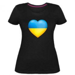 Жіноча стрейчева футболка Серце патріота