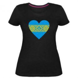 Женская стрейчевая футболка Серце України - FatLine