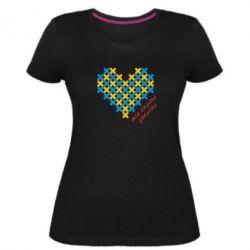 Женская стрейчевая футболка Серце з хрестиків