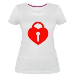 Женская стрейчевая футболка Сердце со скважиной