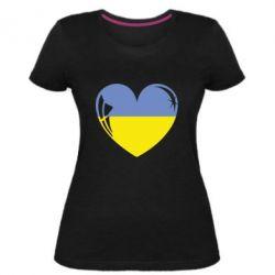 Жіноча стрейчева футболка Серце України