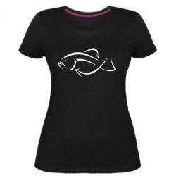 Женская стрейчевая футболка Силуэт рыбы - FatLine