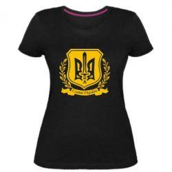 Женская стрейчевая футболка Слава Україні (вінок)
