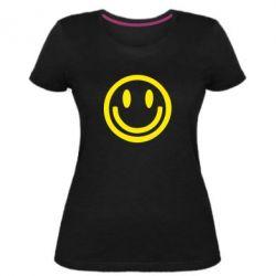 Женская стрейчевая футболка Смайлик