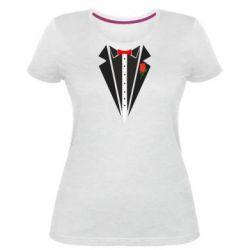Жіноча стрейчева футболка Смокінг з метеликом і трояндою