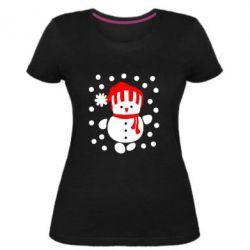 Женская стрейчевая футболка Снеговик в шапке - FatLine
