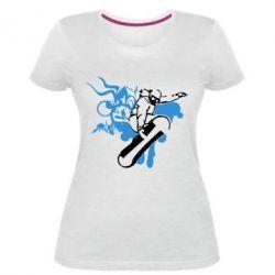 Жіноча стрейчева футболка Сноуборд