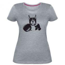 Жіноча стрейчева футболка Собака в боксерських рукавичках