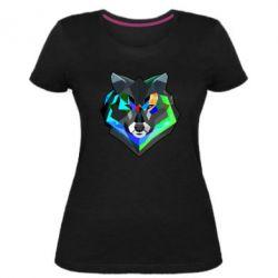 Женская стрейчевая футболка Сolorful wolf