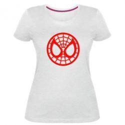 Женская стрейчевая футболка Спайдермен лого