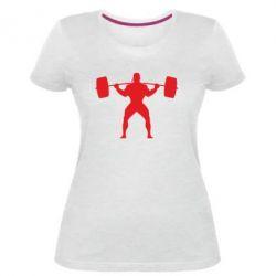 Жіноча стрейчева футболка Спортсмен зі штангою