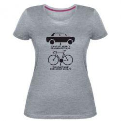 Жіноча стрейчева футболка Порівняння велосипеда і авто