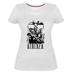 Женская стрейчевая футболка Stalker Logo - FatLine