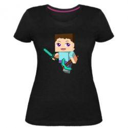 Женская стрейчевая футболка Steve minecraft