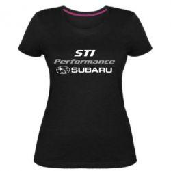 Женская стрейчевая футболка Subaru STI