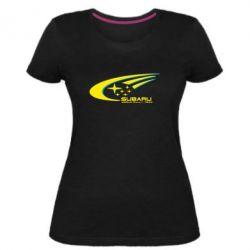 Женская стрейчевая футболка Subaru WRT