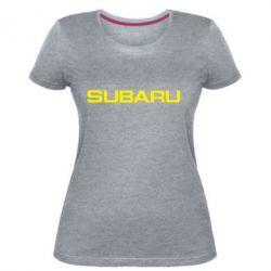 Жіноча стрейчева футболка Subaru