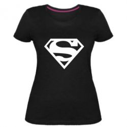 Женская стрейчевая футболка Superman одноцветный