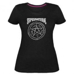 Женская стрейчевая футболка Supernatural круг - FatLine