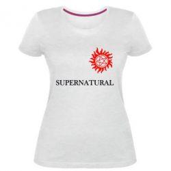 Женская стрейчевая футболка Сверхъестественное звезда - FatLine