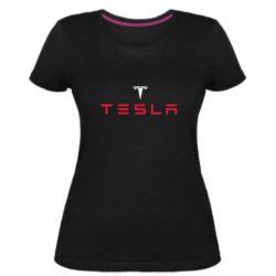 Женская стрейчевая футболка Tesla