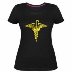 Женская стрейчевая футболка Трость Доктора Хауса