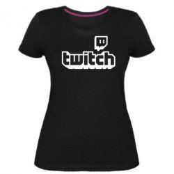 Жіноча стрейчева футболка Twitch logotip