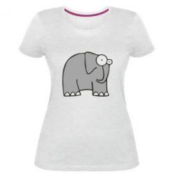 Женская стрейчевая футболка удивленный слон - FatLine
