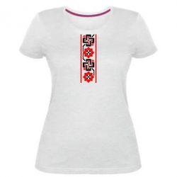 Женская стрейчевая футболка Украiiнський орнамент - FatLine